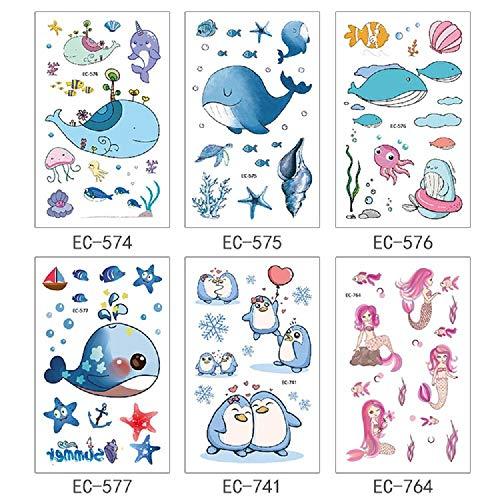 Tatuaggio Temporaneo,Adesivi per Il Trasferimento del Corpo 6 Fogli Cartoon Tatuaggio Balena Pinguino Sirena per Bambini Donne Petto Gamba Vita Collo Tatuaggio Impermeabile Rimovibile Non Tossico SIC