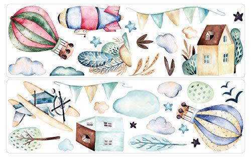 dekodino® Adesivo murale Acquerello in mongolfiera velivoli dimora set