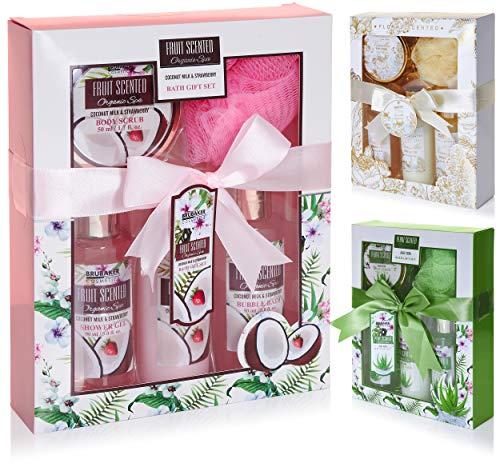 BRUBAKER Cosmetics set beauty da bagno e doccia 'Cocco e Fragola' - set regalo in 5 pezzi presentati in confezione regalo