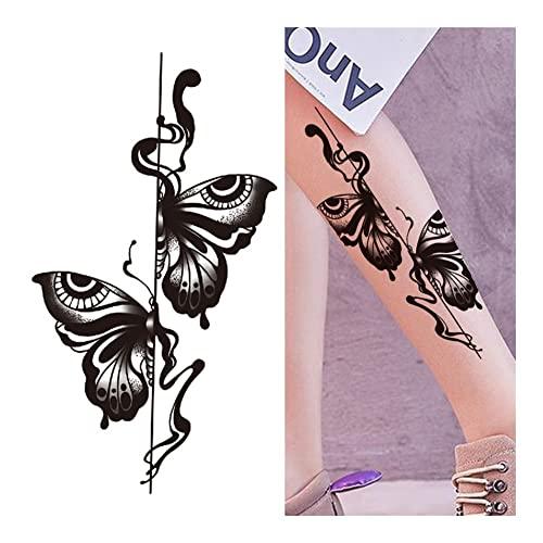 GBKGDH Tatuaggi Temporanei Catene a Giglio Fiore Tatuaggi temporanei for Le Donne Ragazza Black Butterfly Dream Catcher Tattoo Sticker Falso Rosa Tatual Back Body Kit Tatuaggi (Color : GXQB297)