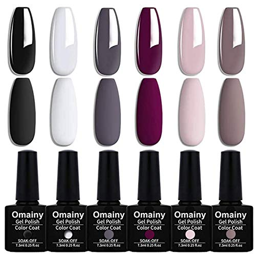 Omainy Smalto Semipermanente Smalti Semipermanenti Per Unghie Nail Polish UV LED Gel Unghie (Kit di 6 pcs 7.3ML/pc) 010