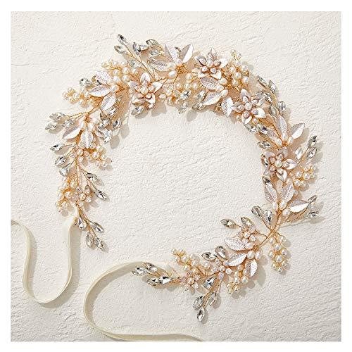 Sweetv, cerchietto da sposa realizzato a mano, con strass, con foglie di fiori, accessorio per capelli (oro)