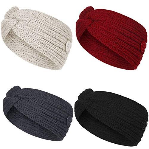 SunAurora 4 Pezzi Fascia per capelli lavorata a maglia invernale, Fascia da Donna Invernale, Fascia per Capelli Intrecciata Elastica