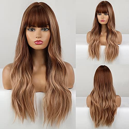 HAIRCUBE Parrucca lunga marrone riccia con frangia Parrucche da donna Parrucche da 24 pollici per donne Parrucche sintetiche dall'aspetto naturale