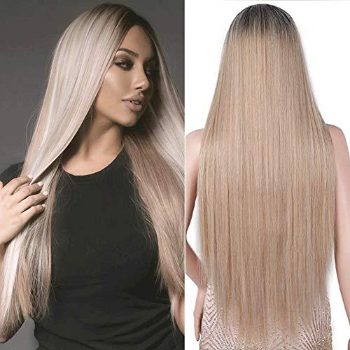 YEESHEDO Parrucca biondo lunga diritto per donne, moda naturale lungo liscia capelli parte centrale sintetica parrucche blonde wig 26 pollici (biondo)
