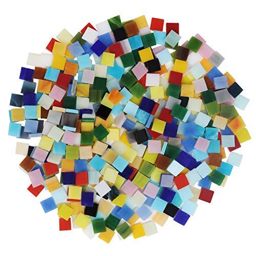 BELLE VOUS Tessere Mosaico Vetro Colorato (700 pz - 500 g) - Tasselli Mosaico 1 x 1 cm - Tessere per Mosaico Piastrelle Assortite per Decorazioni, Cornici, Vasi, Arte, Casa e Fai-da-Te