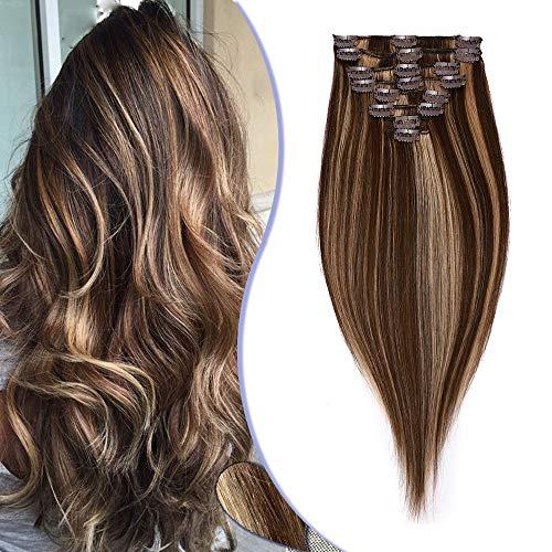 Elailite Clip in Capelli Veri Extension Set da 8 Fasce Singole Grade 8A Remy Human Hair Naturali [Standard Weft, 25cm (75 gr)] #Marrone Cioccolato Balayage Biondo Scuro