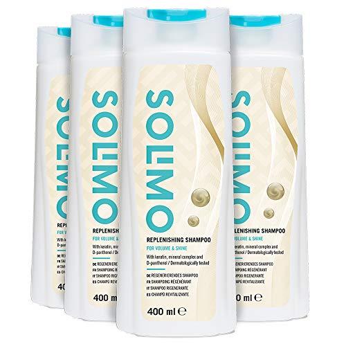 Marchio Amazon - Solimo Shampoo rigenerante Volume e lucentezza con cheratina, complesso minerale e D-pantenolo- Confezione da 4 (4 flaconi x 400ml)