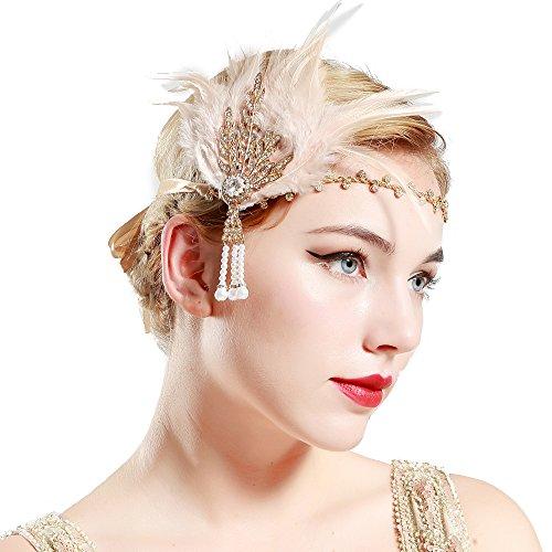 BABEYOND Fascia Anni 20 Gatsby Flapper Headband Fascia Charleston con Piuma Anni 20 Fascia Capelli Gatsby per Festa a Tema Vintage Matrimonio (Oro e Piuma Champagne)