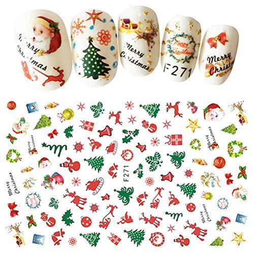 Frcolor 2pcs adesivi per unghie per unghie natalizie, decorazioni per unghie autoadesive in 3D per unghie per le donne