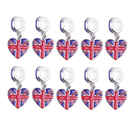 TENDYCOCO 10 Pz UK Bandiera Charms UK Unito Ciondolo Smalto Charms Bandiera Perline per Bracciali Europei Ciondolo Portachiavi Auto Depoca Ciondolo Portachiavi