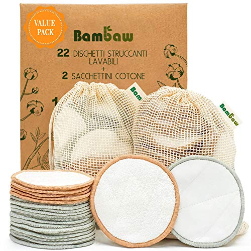 Dischetti struccanti riutilizzabili in cotone Bambaw con due sacchettini per il lavaggio e la conservazione - Pack da 22 dischetti