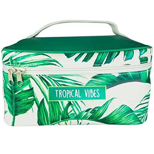 Les Trésors De Lily [P9681] - Beauty-case soft 'Jungle' verde beige (vibrazioni tropicali)- 24x18x13 cm.