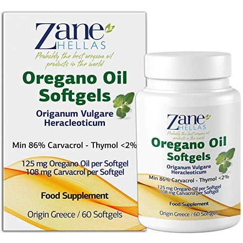 Zane Hellas Oregano Oil Softgels.La più alta concentrazione del mondo.Ogni Softgel Contiene 25% di Olio Essenziale Greco Puro di Origano.108 mg di Carvacrolo per Softgel. Confezione da 2.