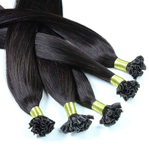 Hair2Heart 50 x 0,5g Extension Capelli Veri Cheratina - 30cm, colore #1b Nero Naturale, liscio