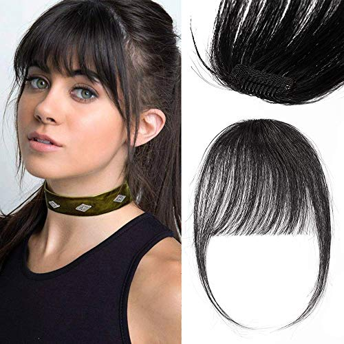 Frangia Sottile Capelli Veri Clip Extension Frangetta Capelli Naturali Lisci 3g Remy Human Hair Air Bang Frangia con Tempie - 1 Nero Scuro