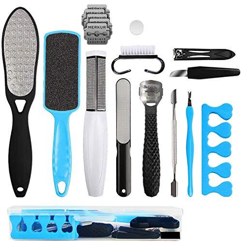 Kit di Strumenti per Pedicure Professionale 17 in 1, Piedi puliti Set di attrezzi per la pelle morta Kit per la cura dei piedi per donne uomini salone o casa