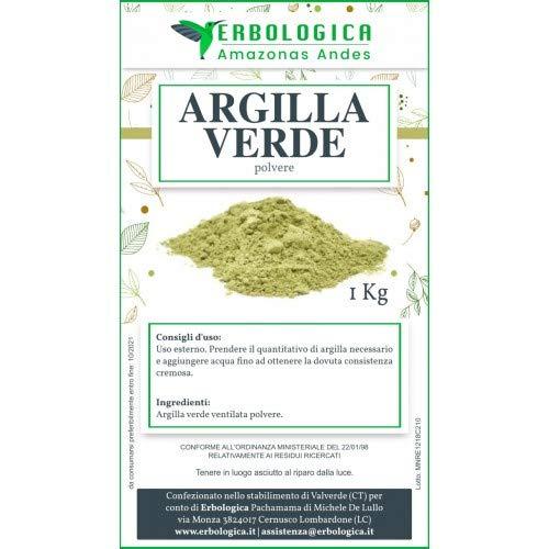 Argilla verde ventilata in polvere da 1 kg   Uso esterno - Naturale antinfiammatorio   Ottima per maschera viso e capelli, Purificante e Riequilibrante - Erbologica Amazonas Andes