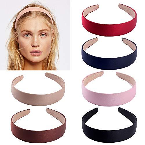 6 pezzi fasce in raso, fasce per capelli a fascia a fascia da 1 pollice con nastro antiscivolo per donna ragazza (6 colori)