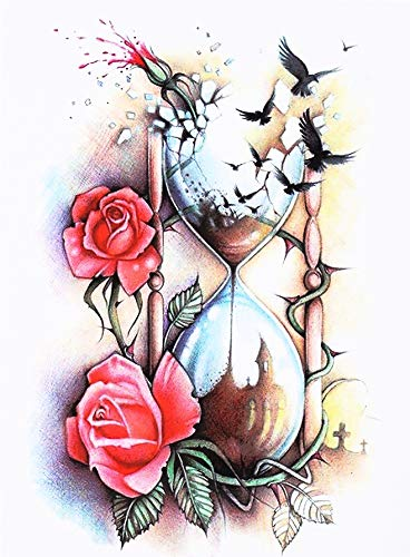 Tatuaggio con clessidra a forma di rose hb509