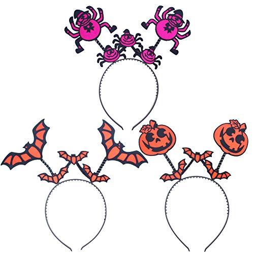 WENTS Fascia per Halloween 3PCS Fascia per Capelli di Halloween con Zucca, Cerchietto di Pipistrello, Giochi di Ruolo di Halloween, Accessori per Capelli Festa da Ballo da Festa