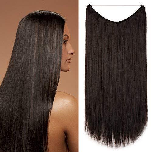 Extension Capelli Lisci con Filo Invisibile Fascia Unica Hair Sintetici Wire Extensions 60cm 120g #4A Castano Scuro