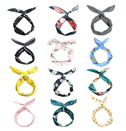LZYMSZ 12PCS Twist Bow Wired Fasce, Filo di Ferro Fiocco Annodato a Fiori, Yoga Head Wraps Sport Turbante, Vintage Stampato Criss Cross Annodato per le Donne Ragazze (12-SS)