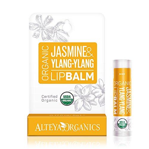 Alteya Organic Balsamo Labbra di Jasmine e Ylang-Ylang 5 g – USDA certificata organica bio naturale ristrutturante cura labbra sotto la forma di stick