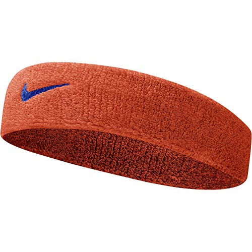 Nike Fascia Tergisudore Tennis Swoosh Head Band Capelli Vari Colori (Orange Fluo con Swoosh Blue)