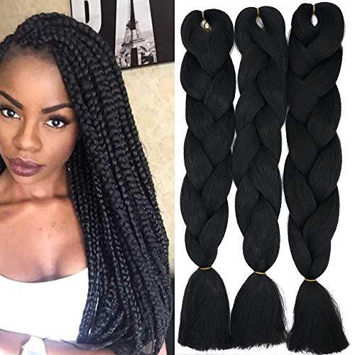 Treccine Extension Capelli Sintetici per Treccine Africane 3 Ciocche Trecce Jumbo Braiding Hair Kanekalon (Nero)