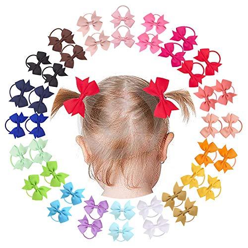 40 pz 2 pollici neonate capelli fiocchi cravatte per capelli piccole mollette per capelli nastro del grosgrain fascia per capelli supporto coda di cavallo per bambini neonati bambini