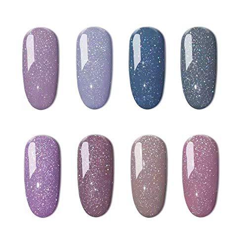 Allenbelle Smalto Semipermanente Nail Polish UV LED Gel Unghie (Kit di 8 pcs 7.3ML/pc) 83302