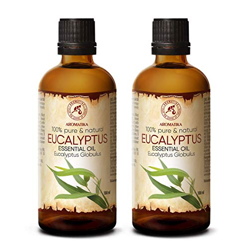 Olio essenziale di eucalipto da 200 ml - Eucalyptus Globulus - 100% puro e naturale - Oli essenziali di eucalipto - Il meglio per la bellezza - Sauna - Aromaterapia - Inalazione - Diffusore di aromi