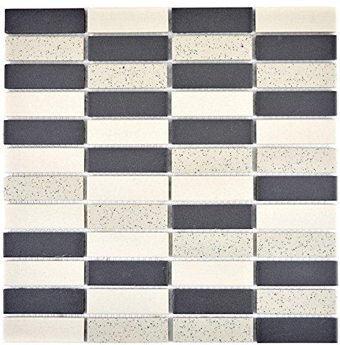 Piastrelle a mosaico in ceramica, colore beige, nero, bastoncini non smaltati per pavimenti, pareti, bagno, doccia, cucina, specchio, rivestimento, vasca da bagno, mosaico