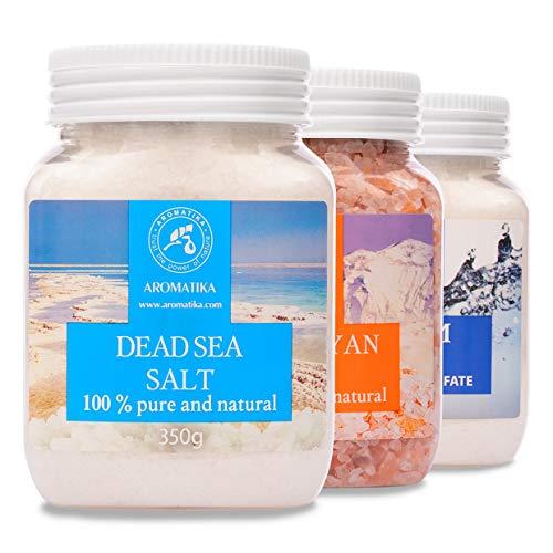 Set di sali da bagno - Sale Epsom - Sale rosa dell'Himalaya - Sale del Mar Morto - Puro e naturale al 100% - Cura del corpo - Ideale per dormire bene - Bellezza - Bagno - Cura del corpo - Benessere