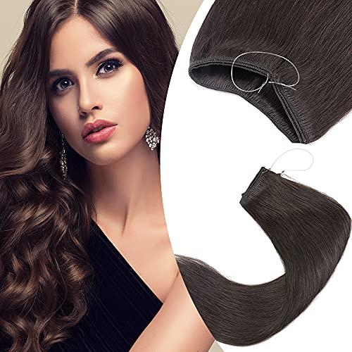 Elailite Extension Capelli Veri con Filo Invisibile Fascia Unica Senza Clip 100% Remy Human Hair Naturali Lisci 40cm 60g #2 Marrone Scuro