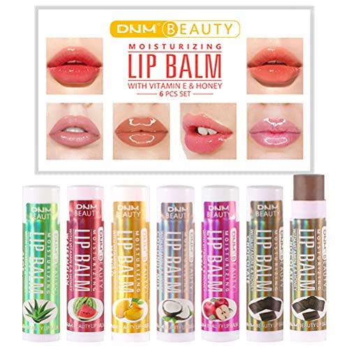 WBTY - Set di 6 lucidalabbra naturale per la cura delle labbra, balsamo per labbra e labbra trasparente, anti-crepe, per ridurre le linee sottili, morbido e luminoso.