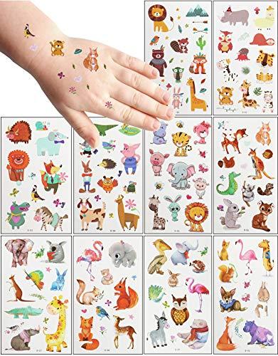 MEIXI 20 Fogli Tatuaggi Temporanei Bambini,Tema Animale Tatuaggi per Bambini Delicato sulla Pelle,Impermeabile Tatuaggi Finti per Ragazze Ragazzi,Tatuaggio Temporaneo per Feste di Compleanno
