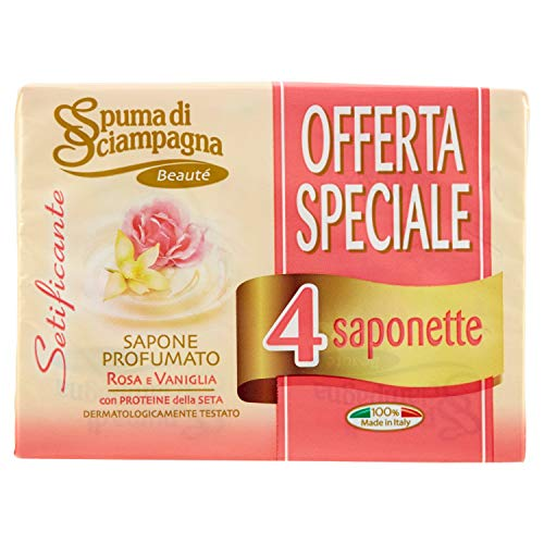 Spuma di Sciampagna Saponetta Setificante Perle Di Seta E Vaniglia 4 Pezzi - 90 Gr