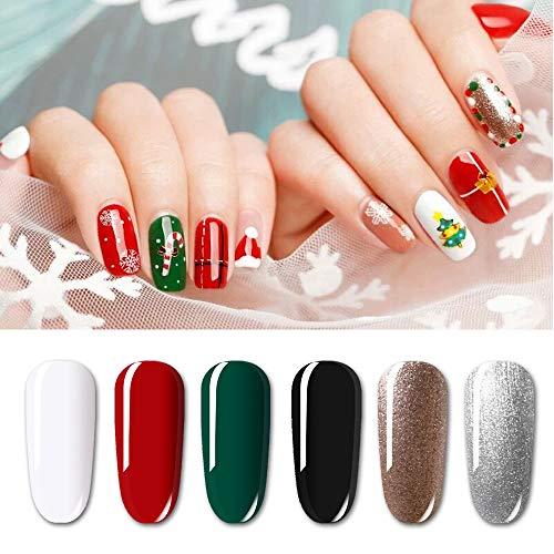 [Collezione natalizia] Set di 6 smalti semipermanenti Vishine bianco rosso verde nero glitter argento Soak Off UV LED smalto gel nail art box 8ml
