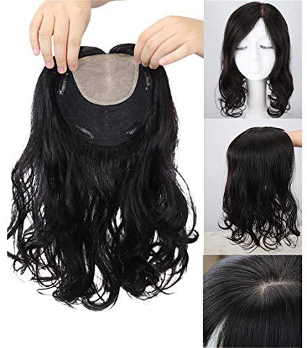 Clip in capelli veri umani topper capelli naturali ondulati, 16 x 15,2 cm, con base in seta, per donne con capelli diradanti, 35,6 cm, marrone scuro, parte sinistra