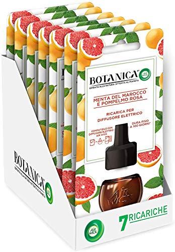 Airwick Botanica Ricariche per Diffusore di Oli Essenziali Elettrico, fragranza Menta del Marocco e Pompelmo Rosa, fragranza naturale - Confezione da 7 Ricariche