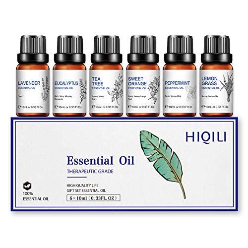 HIQILI 100% Pure Natural Organic 10ML Oli Essenziali 6 Set-Lavanda, Menta piperita, Tea Tree, Eucalipto, Arancia Dolce, Citronella-Relax Calmo Sonno