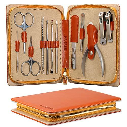Set regalo tagliaunghie Mr.Green, tagliaunghie professionale in acciaio inossidabile manicure pedicure e kit per toelettatura con custodia in pelle (Mr-6012-UK)