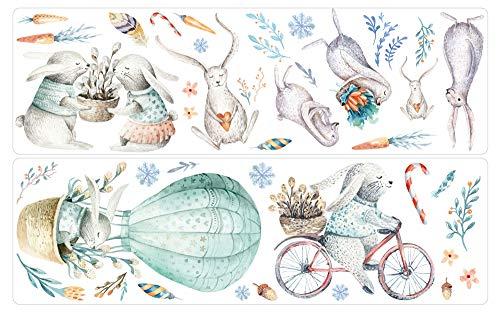 dekodino® Adesivo murale acquerello coniglio coniglio mongolfiera