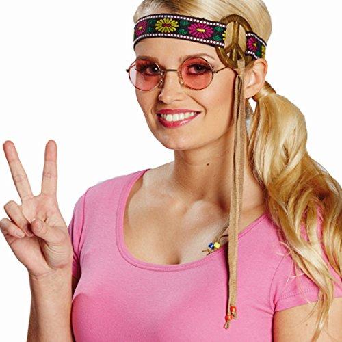 Amakando Fascia per capelli anni '70 con simbolo della pace, accessorio per carnevale, accessorio per capelli con motivo floreale anni '60