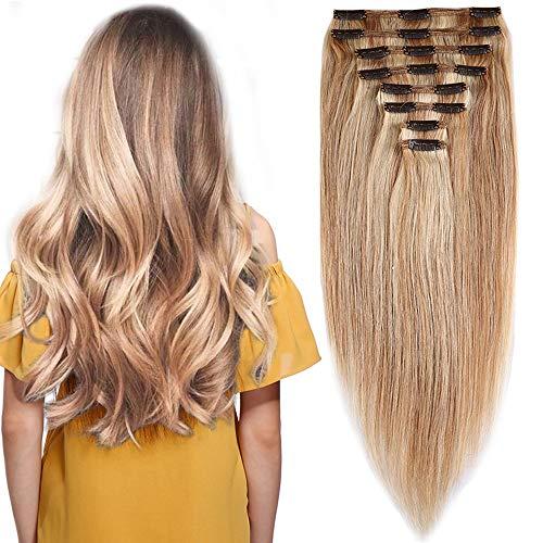 Elailite Extension Capelli Veri Clip Volumizzante Meche - 40cm 130g - 8 Fasce Folte Double Weft Full Head 100% Remy Human Hair Lisci, 18#/613# Beige Sabbia Biondo/Bleach Biondo