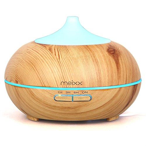 MEIXX 300ml Ultrasuoni Umidificatore Diffusore ad di Oli Essenziali Diffusore di Aromaterapia Diffusore di Aroma Venatura del Legno, 7 colore di DEL per Ufficio Casa SPA,Yoga (Beige)