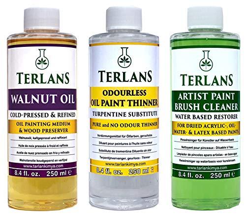 TERLANS Medium per Colori ad Olio 3 x 250 ml/Diluente per Pittura Senza Odore/Detergente a Base d'Acqua per Pennelli/Olie di Noce Raffinato