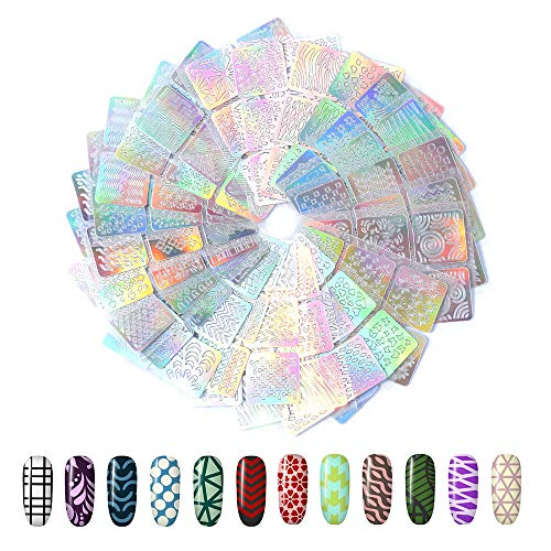 144 Pezzi Unghie Sticker Adesivi Vinile Stencil Hanyousheng 24 Fogli 72 Disegni Differenti Set d'Unghie Arte Vinili Adesivi Stencil, Set Decorazione Unghie per Nail Art Adesivi Punte Decalcomanie